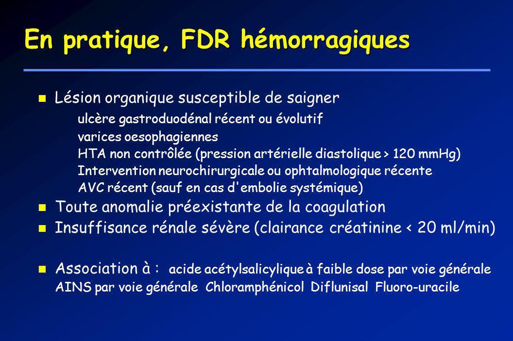 En pratique, FDR hémorragiques