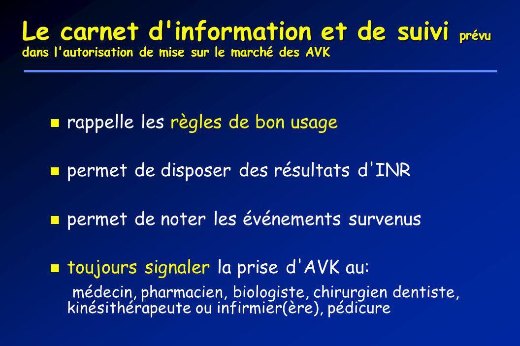 Le carnet d information et de suivi prévu dans l autorisation de mise sur le marché des AVK