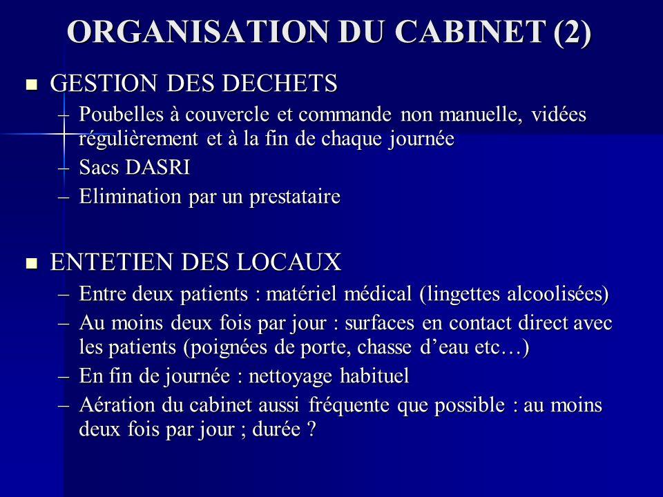 ORGANISATION DU CABINET (2)
