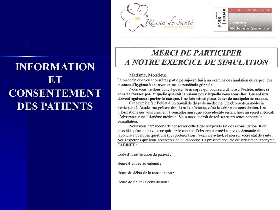 INFORMATION ET CONSENTEMENT DES PATIENTS