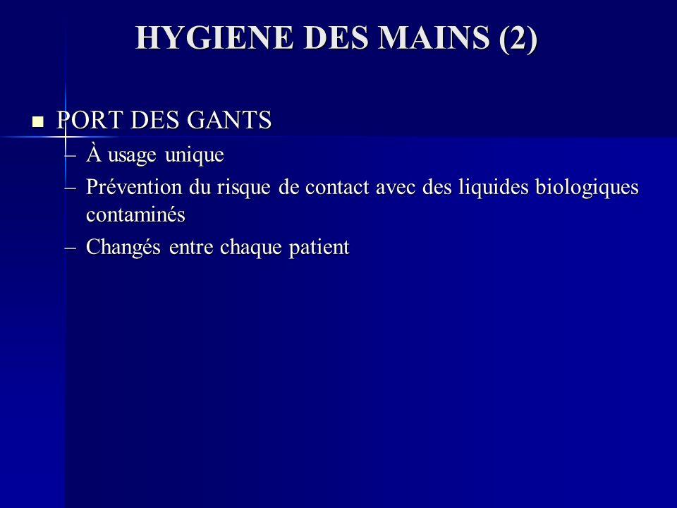 HYGIENE DES MAINS (2) PORT DES GANTS À usage unique