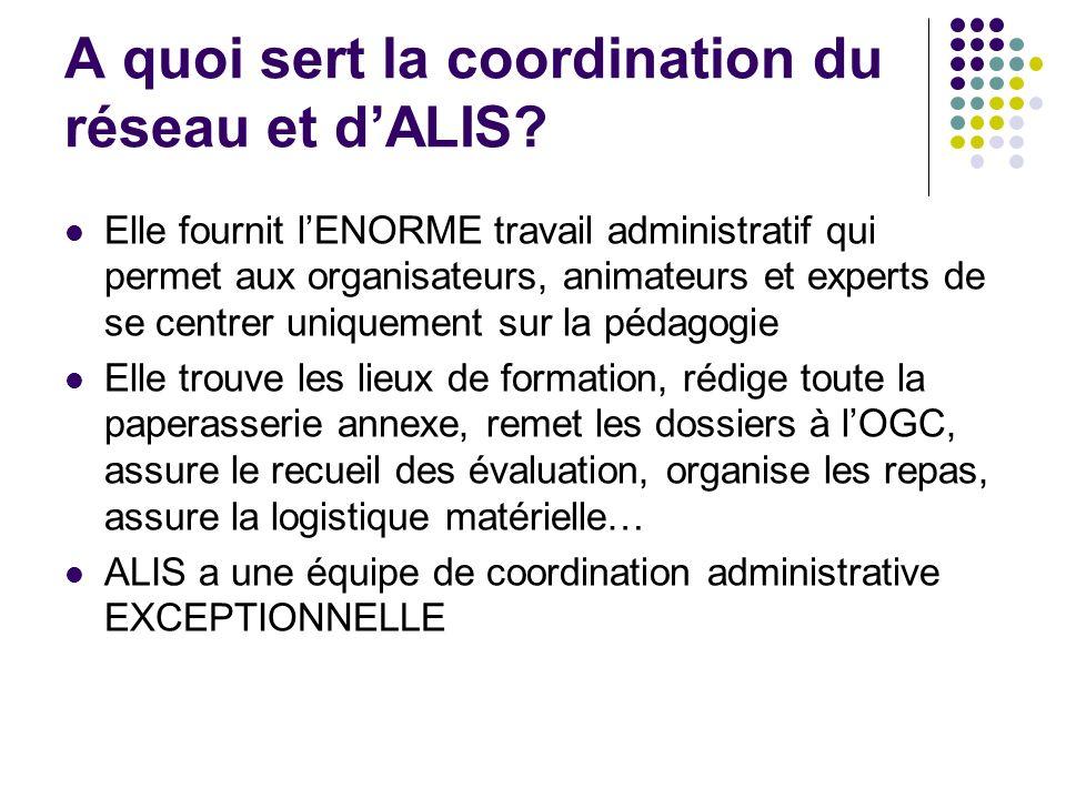 A quoi sert la coordination du réseau et d'ALIS