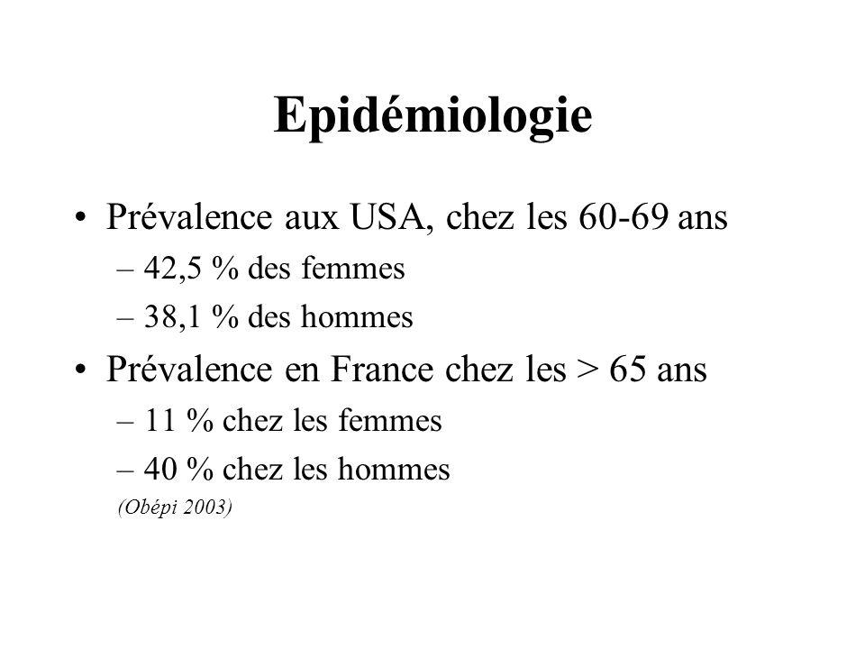 Epidémiologie Prévalence aux USA, chez les 60-69 ans