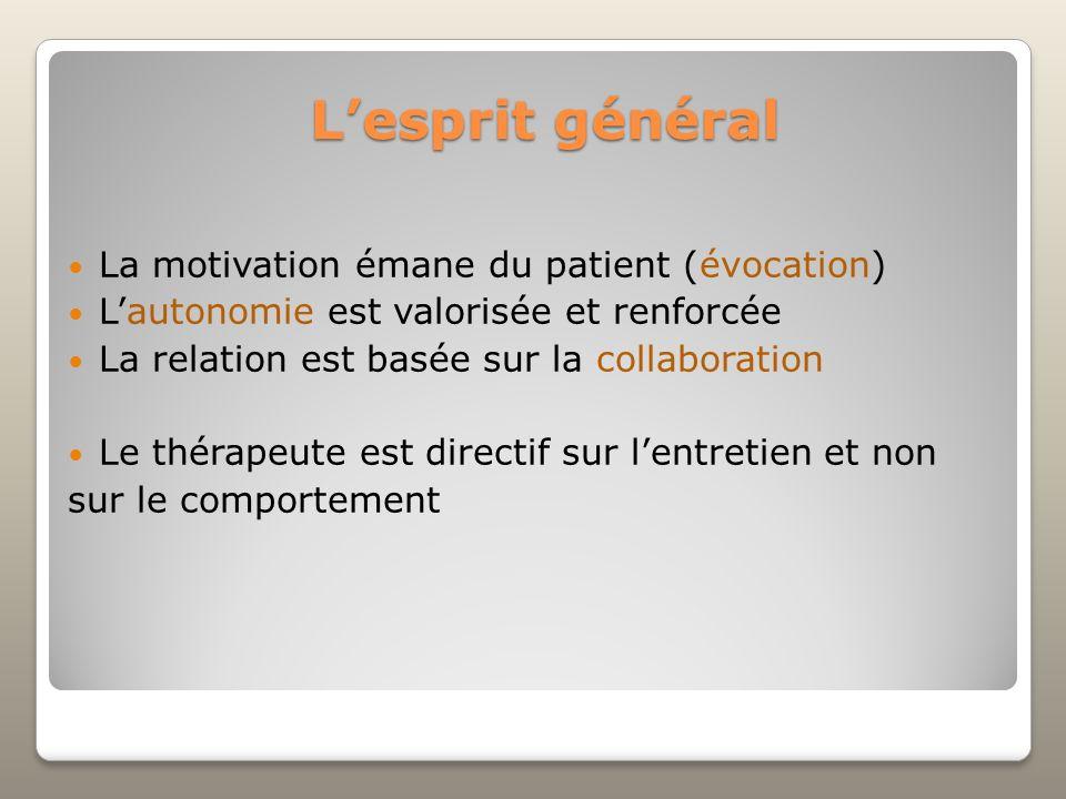 L'esprit général La motivation émane du patient (évocation)