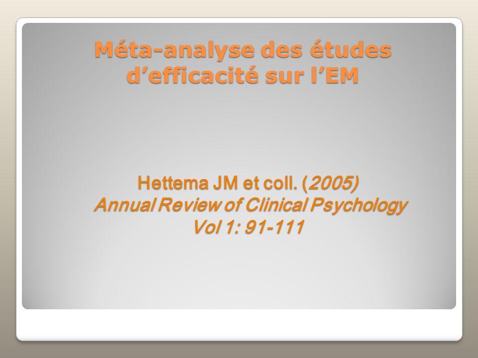 Méta-analyse des études d'efficacité sur l'EM