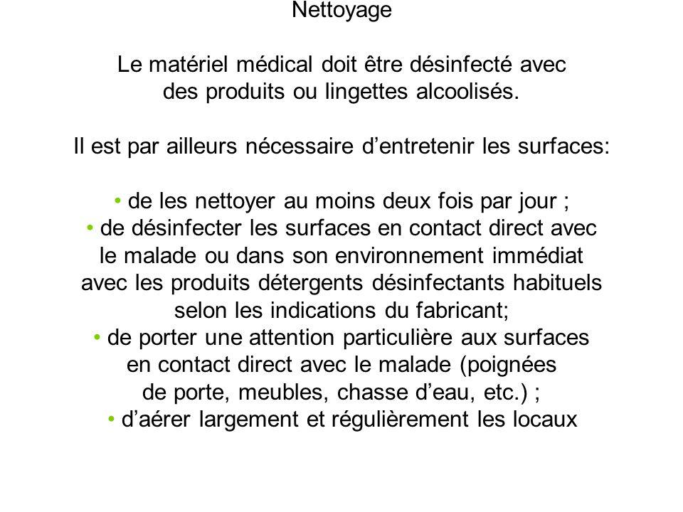 Nettoyage Le matériel médical doit être désinfecté avec des produits ou lingettes alcoolisés.