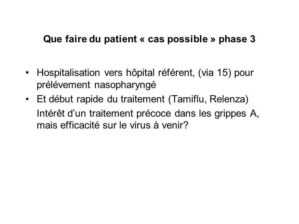 Que faire du patient « cas possible » phase 3