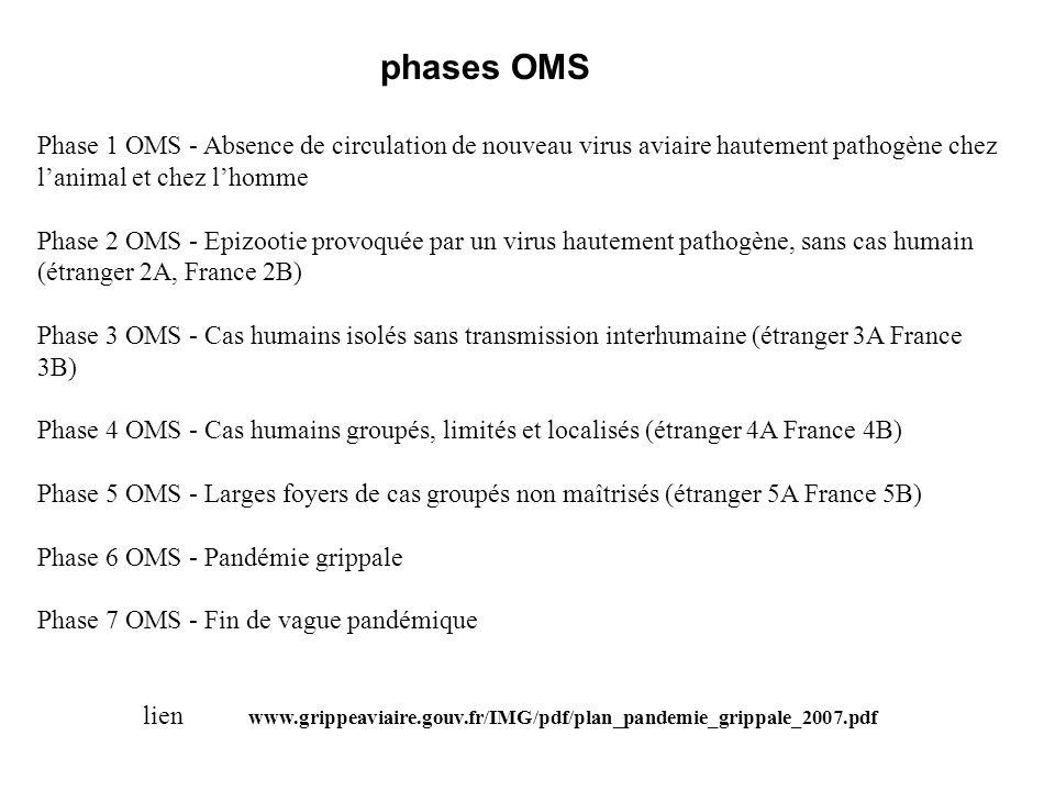 phases OMS Phase 1 OMS - Absence de circulation de nouveau virus aviaire hautement pathogène chez l'animal et chez l'homme.