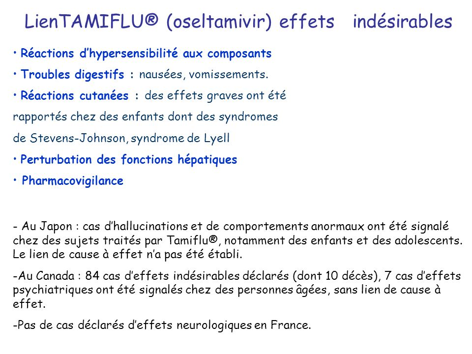 LienTAMIFLU® (oseltamivir) effets indésirables