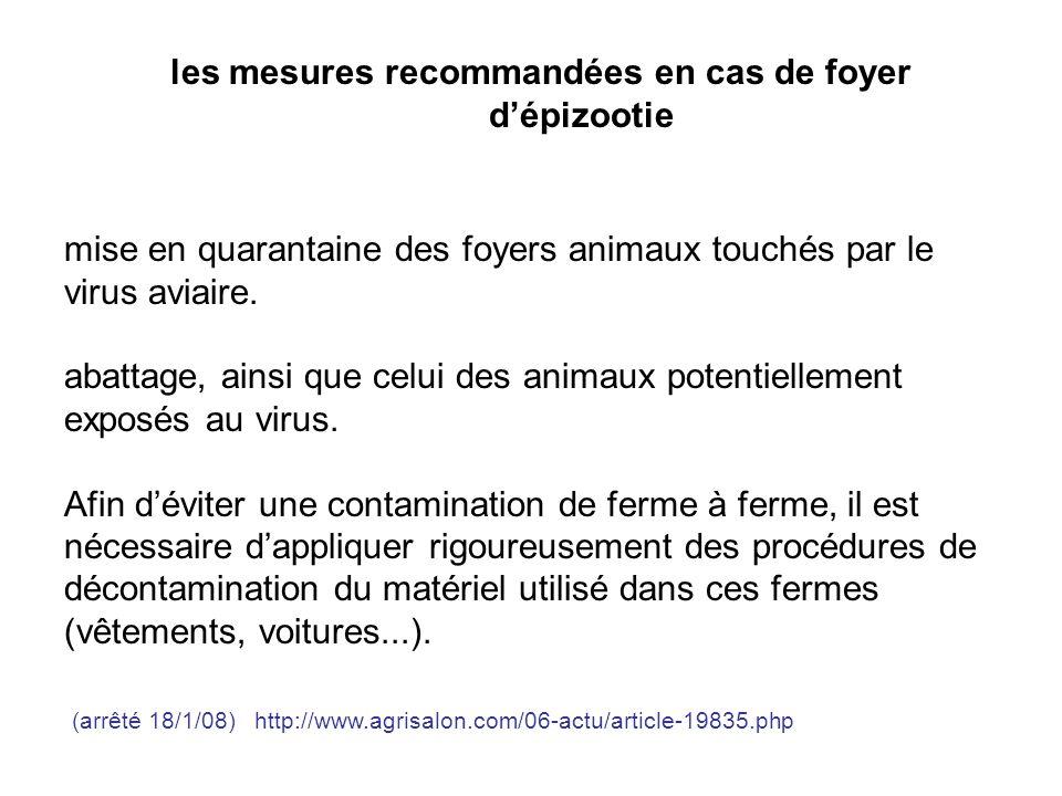 les mesures recommandées en cas de foyer d'épizootie