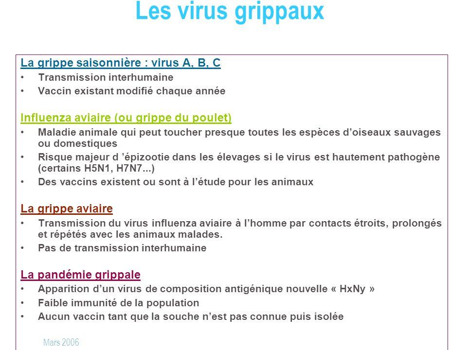 Les virus grippaux La grippe saisonnière : virus A, B, C