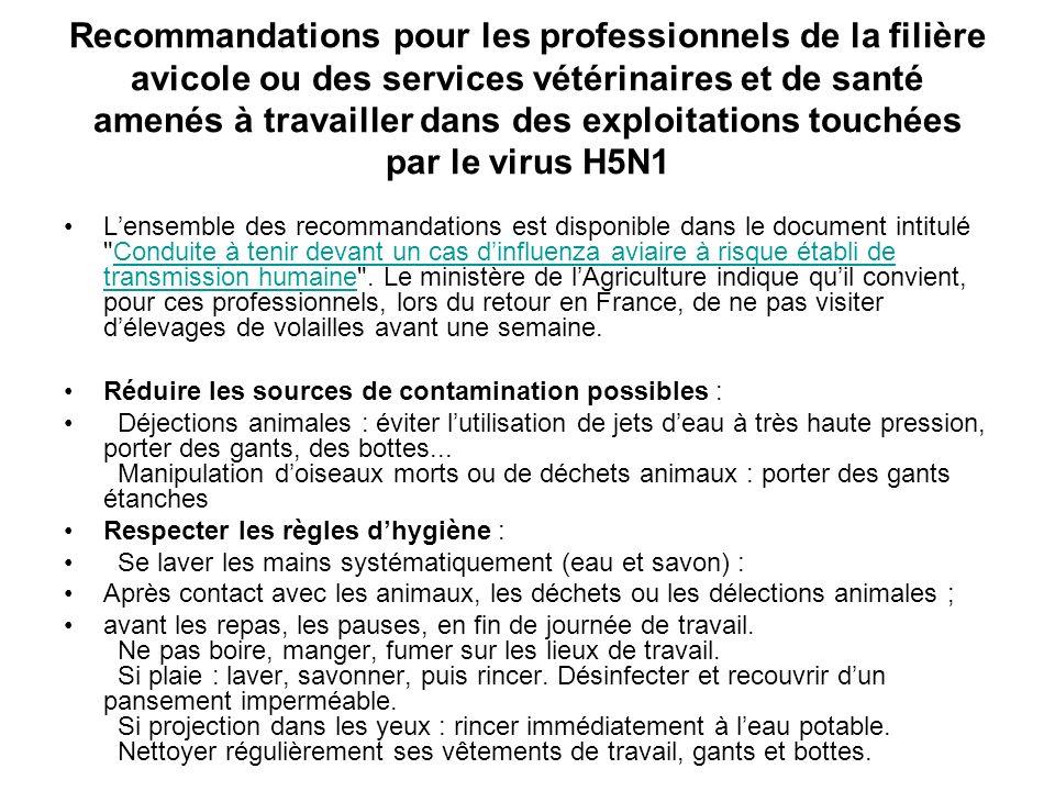 Recommandations pour les professionnels de la filière avicole ou des services vétérinaires et de santé amenés à travailler dans des exploitations touchées par le virus H5N1