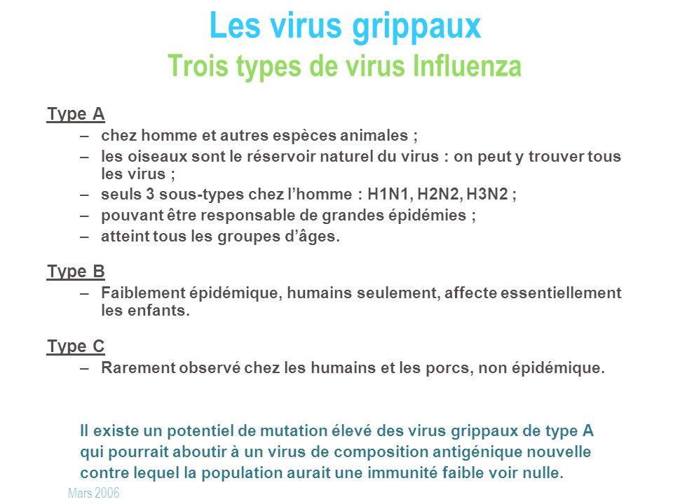 Les virus grippaux Trois types de virus Influenza