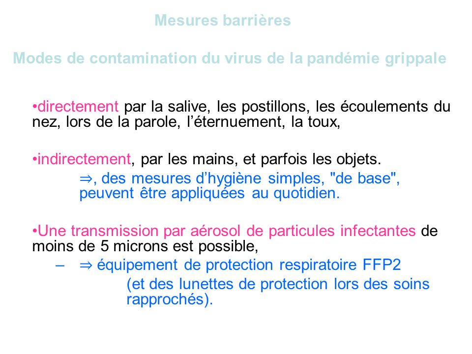 Mesures barrièresModes de contamination du virus de la pandémie grippale.