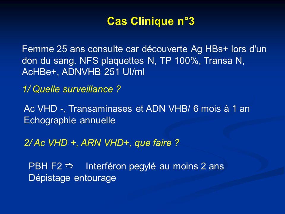 Cas Clinique n°3 Femme 25 ans consulte car découverte Ag HBs+ lors d un don du sang. NFS plaquettes N, TP 100%, Transa N, AcHBe+, ADNVHB 251 UI/ml.