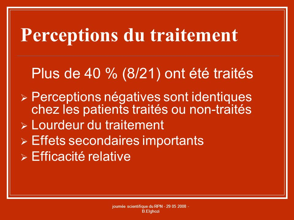 Perceptions du traitement