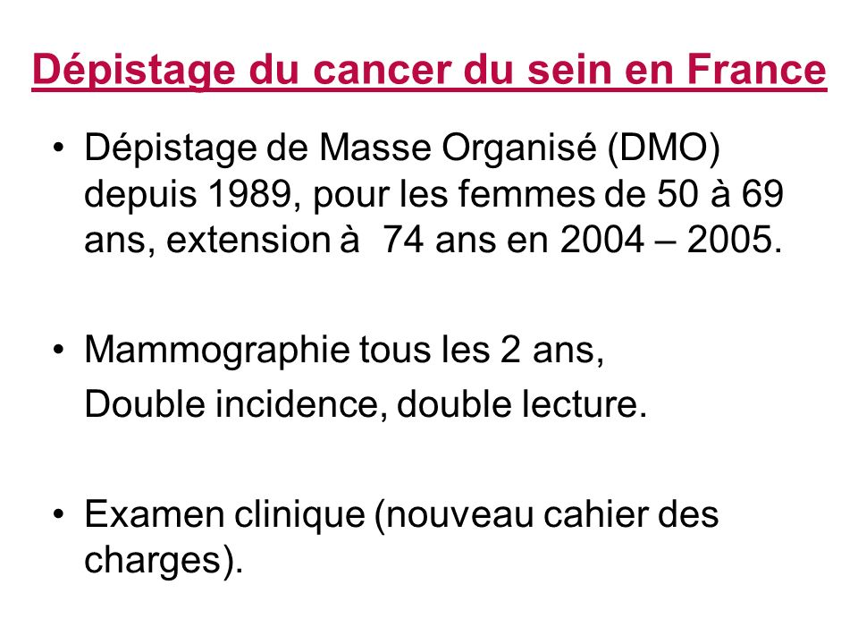 Dépistage du cancer du sein en France