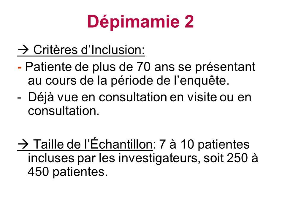 Dépimamie 2  Critères d'Inclusion:
