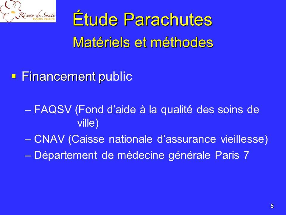 Étude Parachutes Matériels et méthodes Financement public