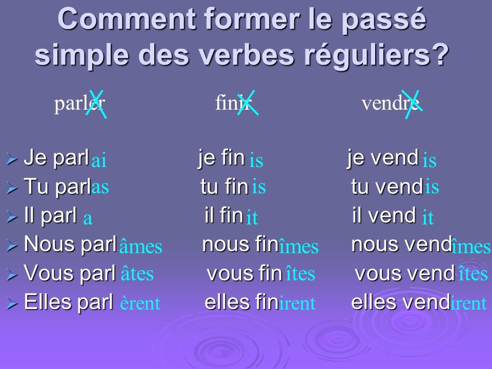 Comment former le passé simple des verbes réguliers