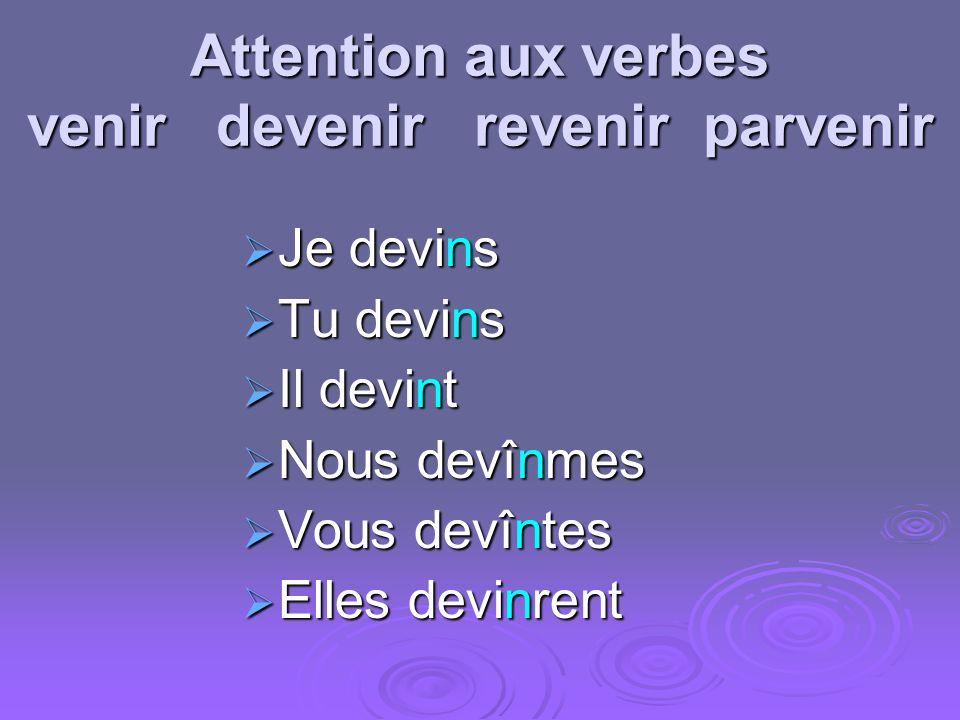 Attention aux verbes venir devenir revenir parvenir