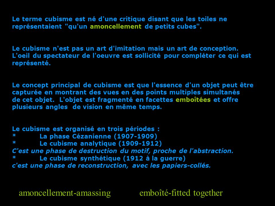 amoncellement-amassing emboîté-fitted together