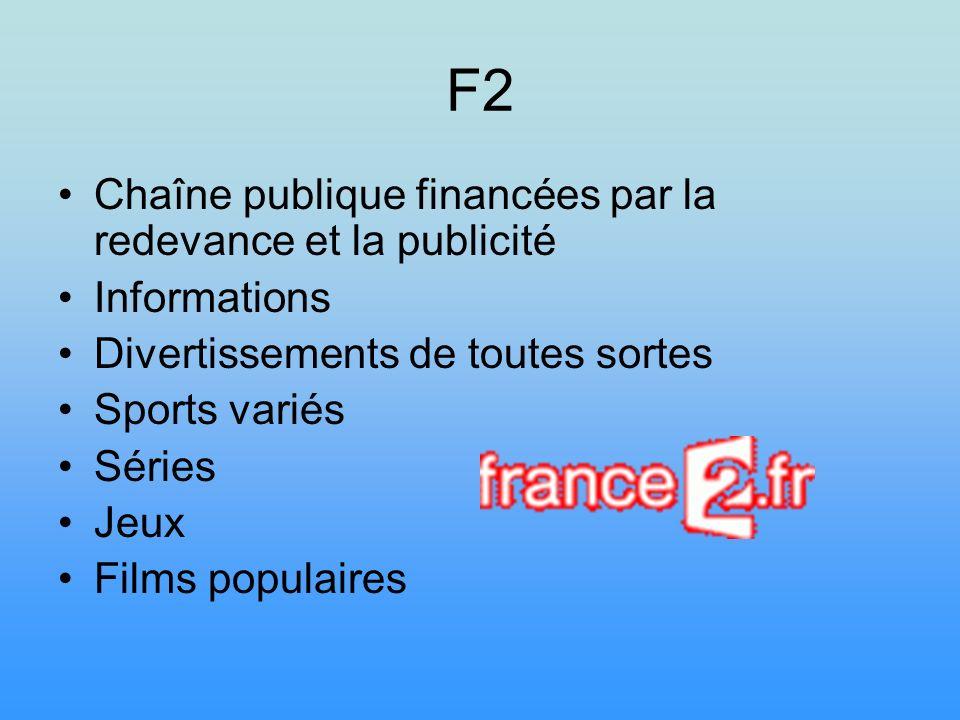 F2 Chaîne publique financées par la redevance et la publicité