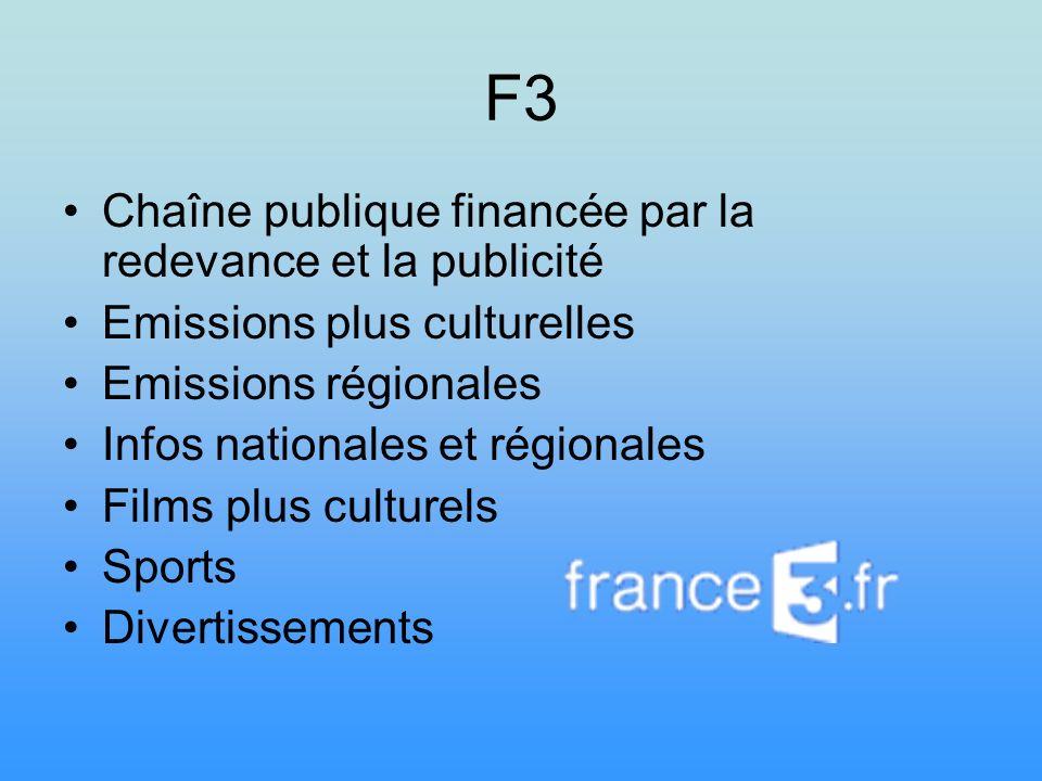 F3 Chaîne publique financée par la redevance et la publicité