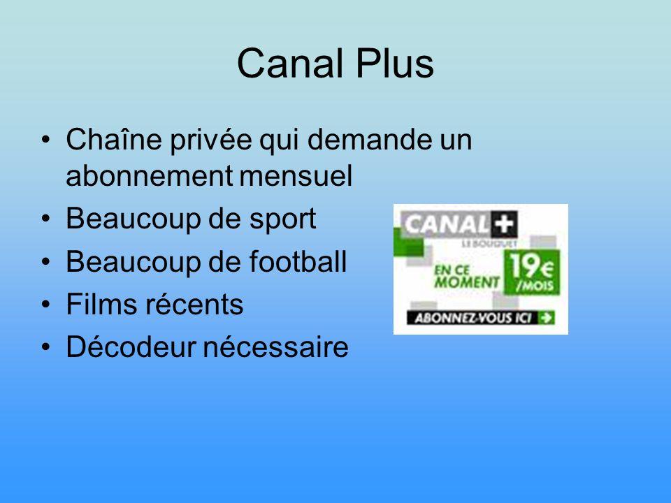 Canal Plus Chaîne privée qui demande un abonnement mensuel