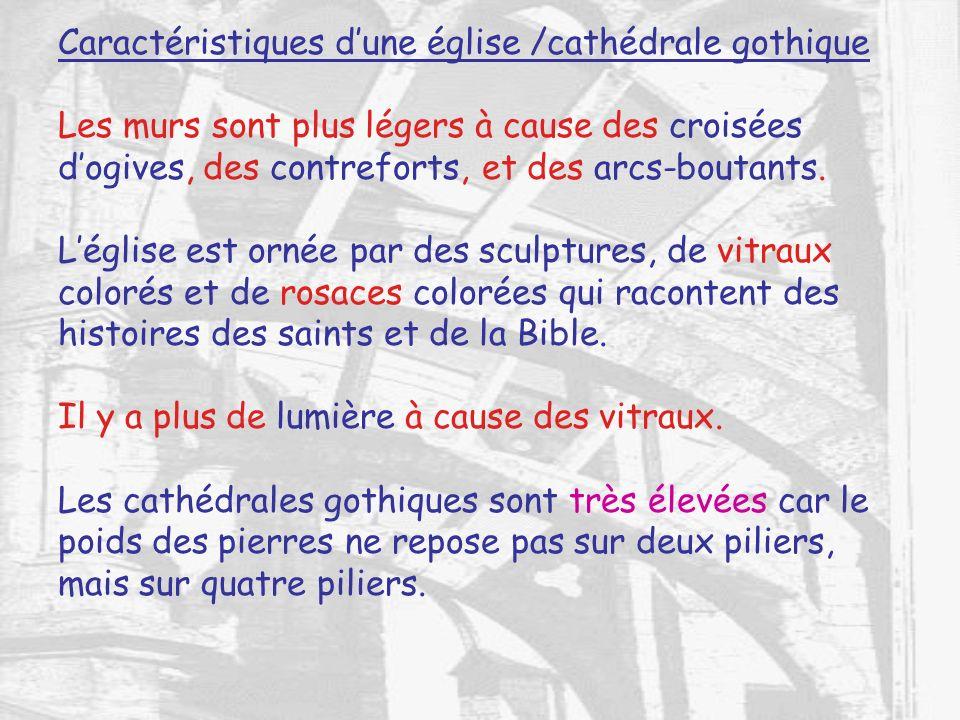 Caractéristiques d'une église /cathédrale gothique