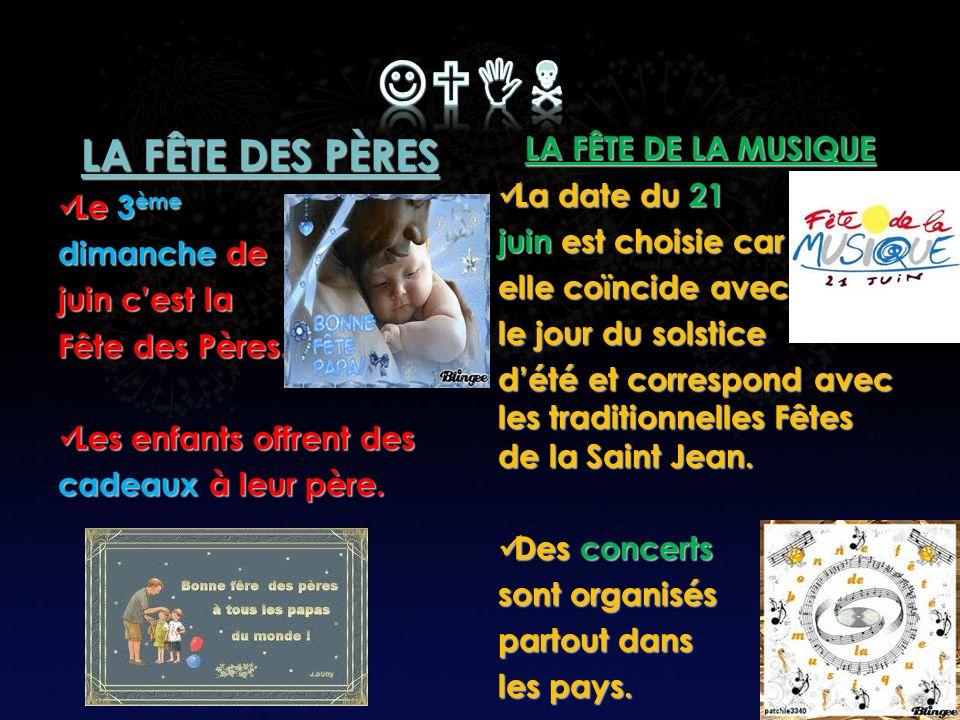 JUIN LA FÊTE DES PÈRES LA FÊTE DE LA MUSIQUE La date du 21 Le 3ème