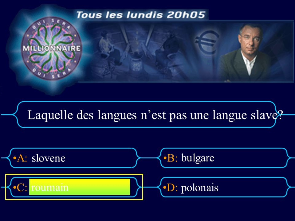 Laquelle des langues n'est pas une langue slave