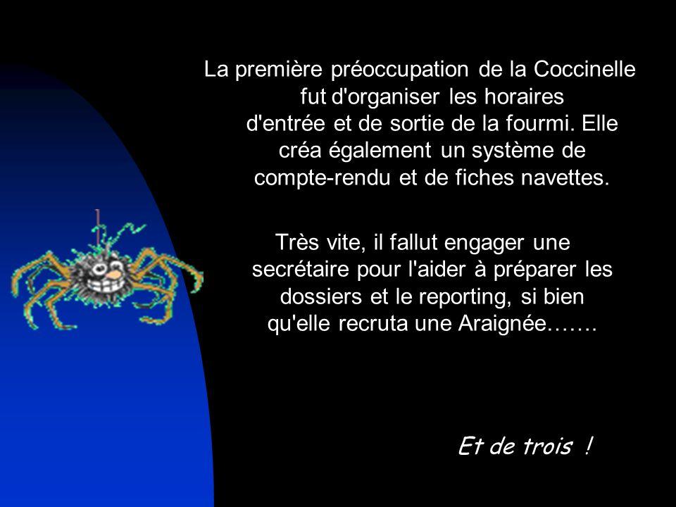 La première préoccupation de la Coccinelle fut d organiser les horaires d entrée et de sortie de la fourmi. Elle créa également un système de compte-rendu et de fiches navettes.