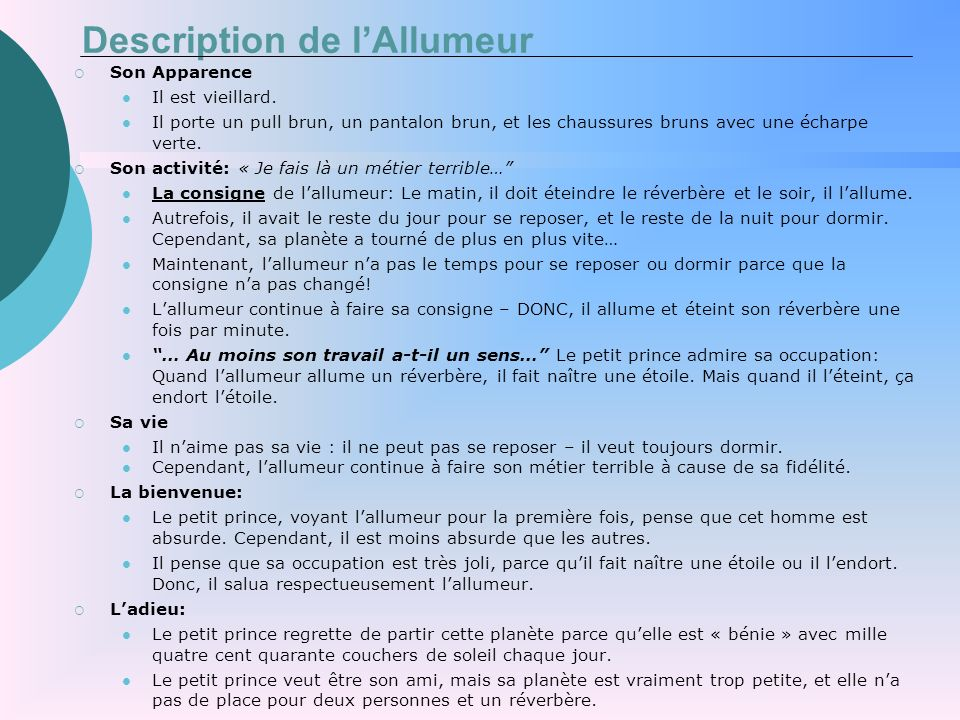 Description de l'Allumeur