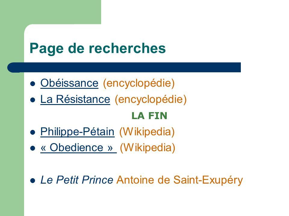 Page de recherches Obéissance (encyclopédie)