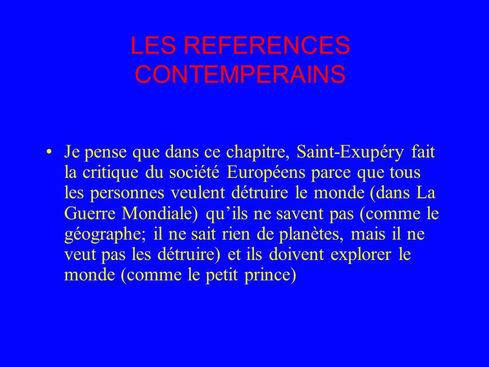 LES REFERENCES CONTEMPERAINS