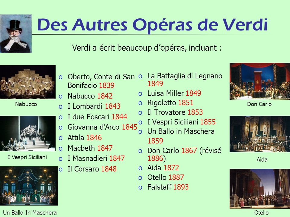 Des Autres Opéras de Verdi