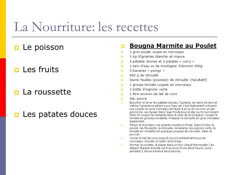 La Nourriture: les recettes