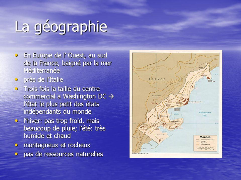 La géographie En Europe de l' Ouest, au sud de la France, baigné par la mer Méditerranée. près de l'Italie.