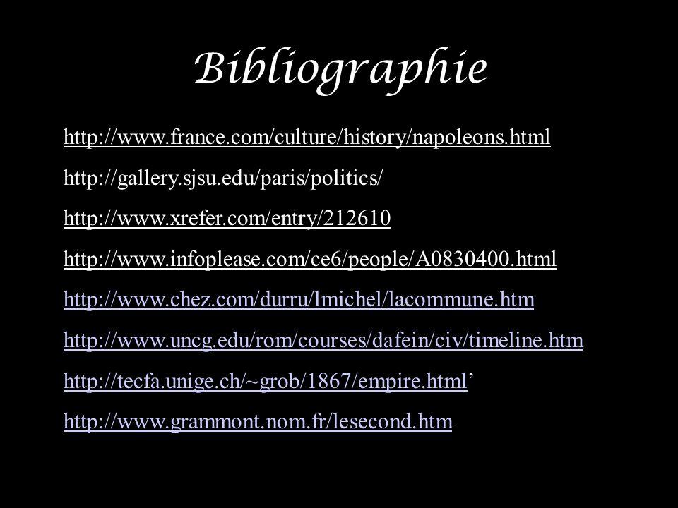 Bibliographie http://www.france.com/culture/history/napoleons.html