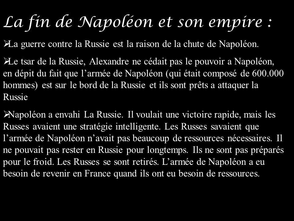 La fin de Napoléon et son empire :