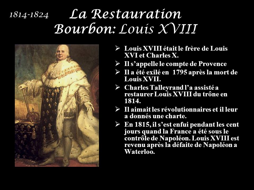 La Restauration Bourbon: Louis XVIII