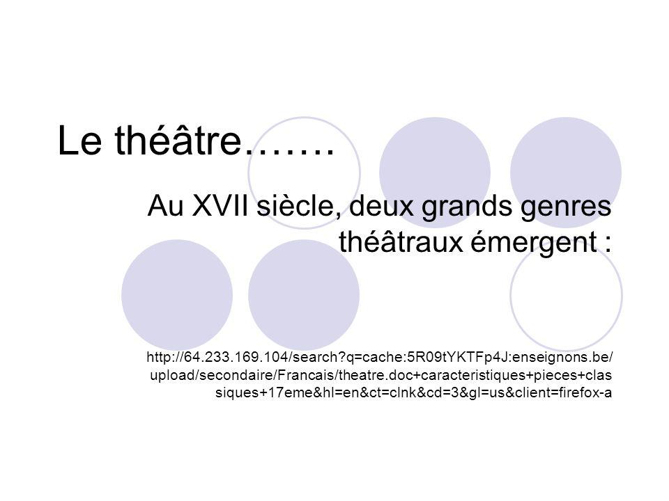 Le théâtre……. Au XVII siècle, deux grands genres théâtraux émergent :