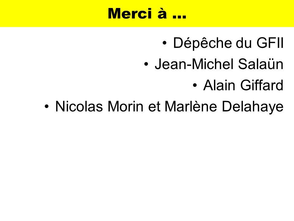 Merci à … Dépêche du GFII Jean-Michel Salaün Alain Giffard Nicolas Morin et Marlène Delahaye