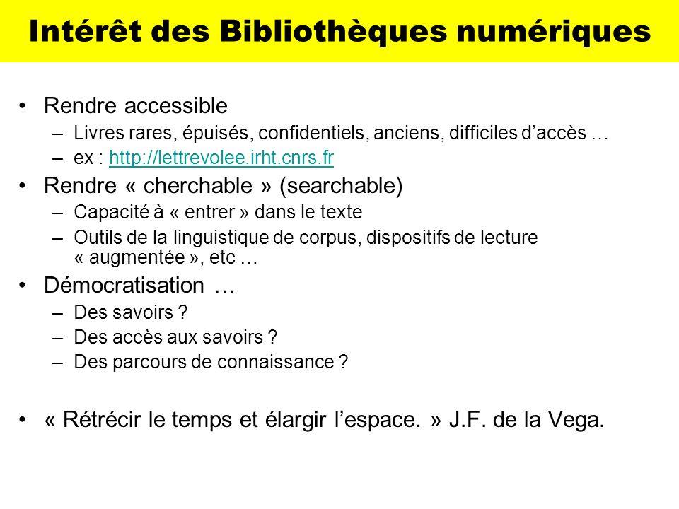Intérêt des Bibliothèques numériques