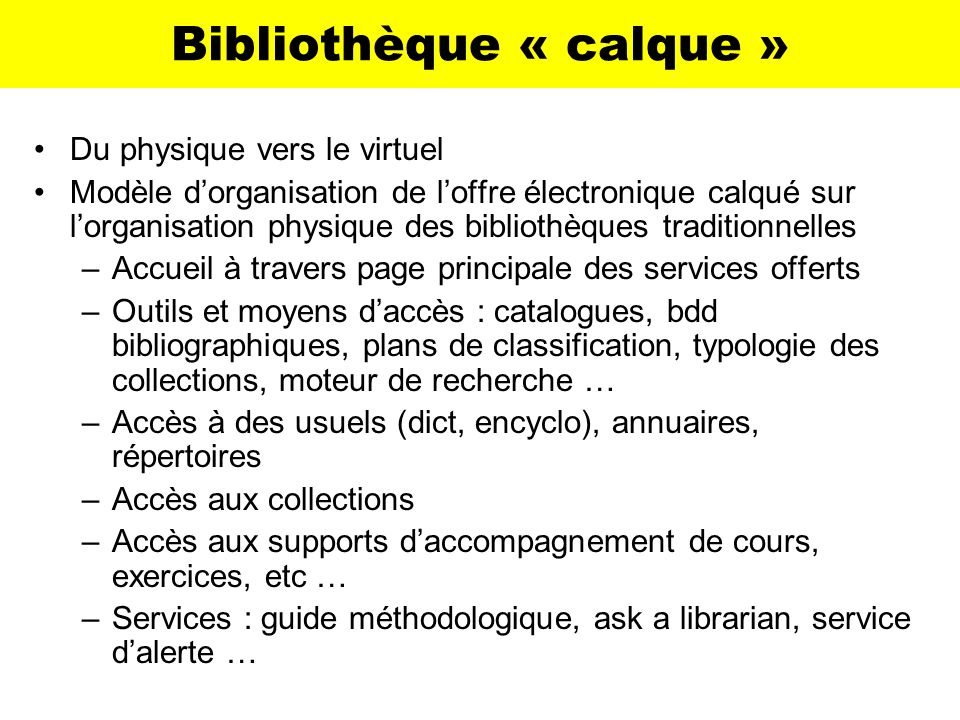 Bibliothèque « calque »
