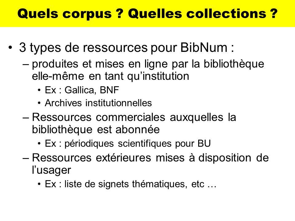 Quels corpus Quelles collections