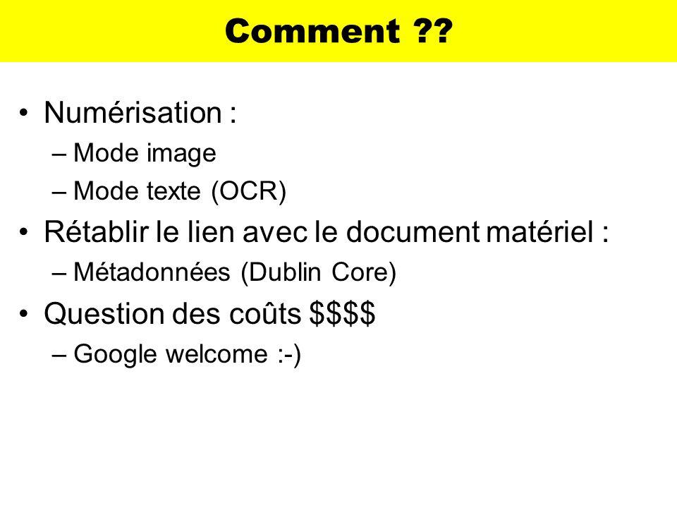 Comment Numérisation : Rétablir le lien avec le document matériel :