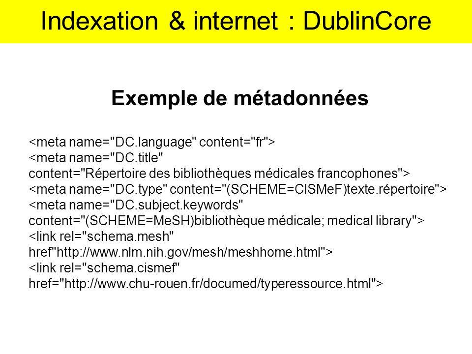 Indexation & internet : DublinCore
