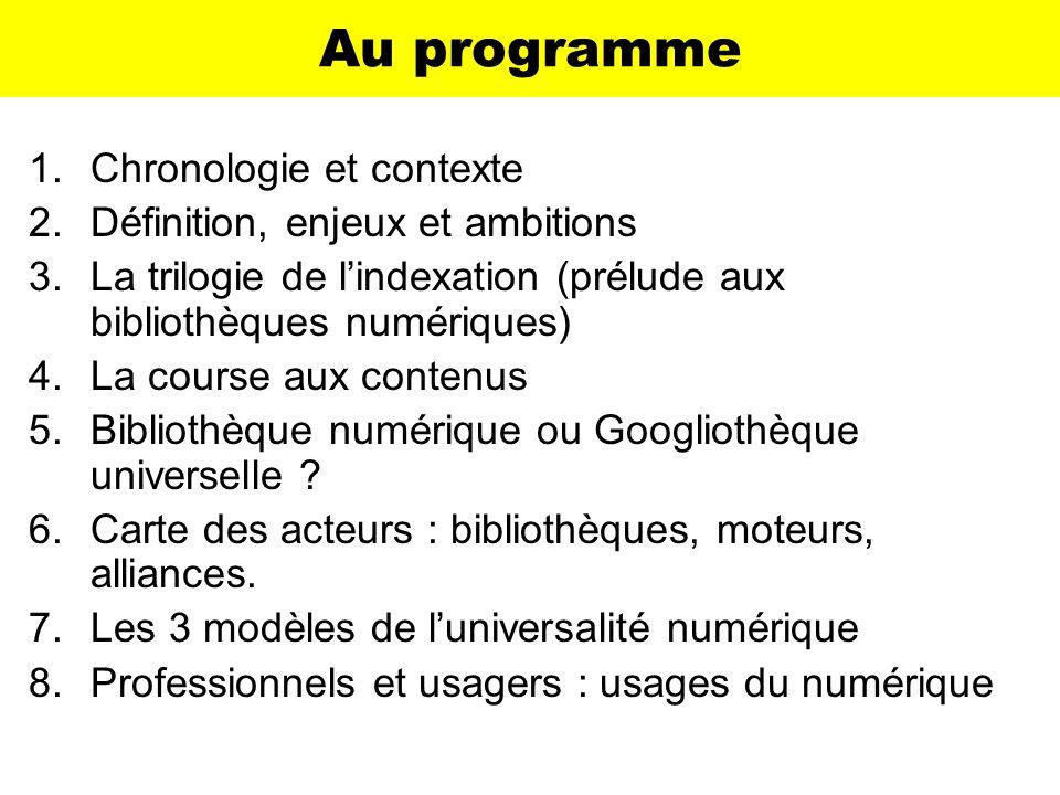 Au programme Chronologie et contexte Définition, enjeux et ambitions